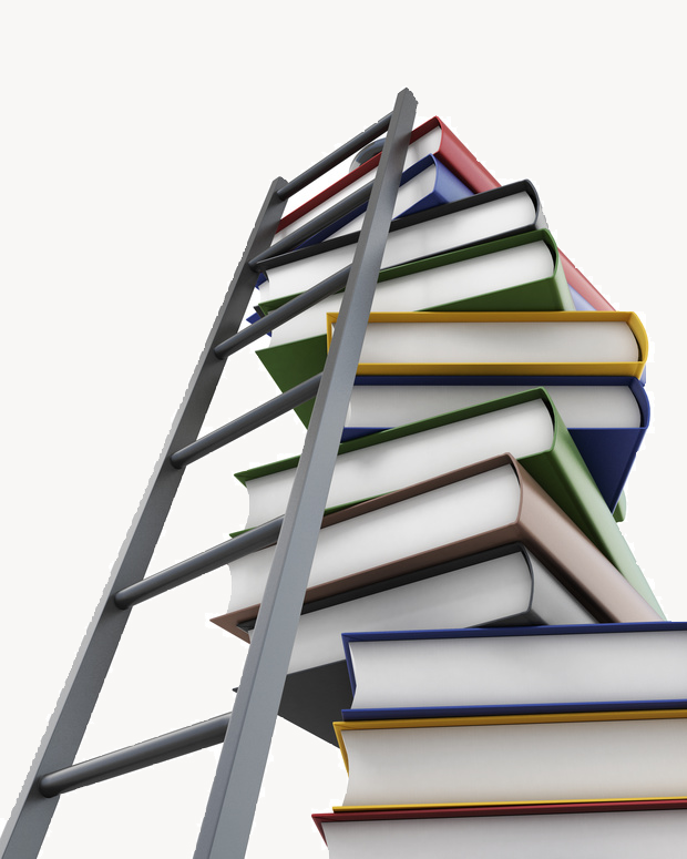 Ladder with books